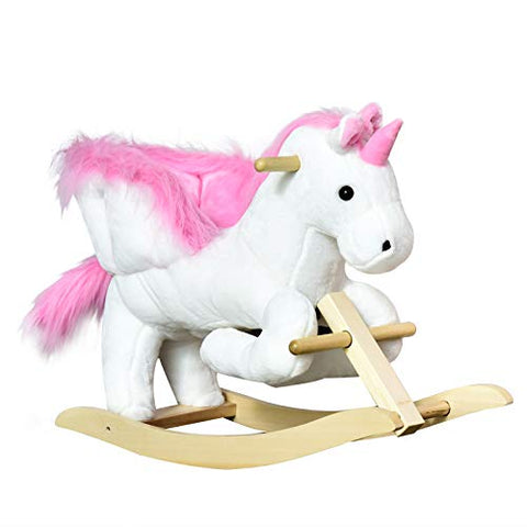 Kids Wooden Plush Ride On Unicorn Rocking Horse Chair Toy With Music | Gift