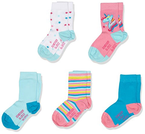 5 Pack Of Girls Socks | Unicorn Design | Multicoloured