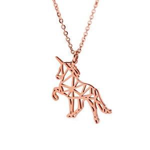 Rose Gold Plated Unicorn Necklace - Womens