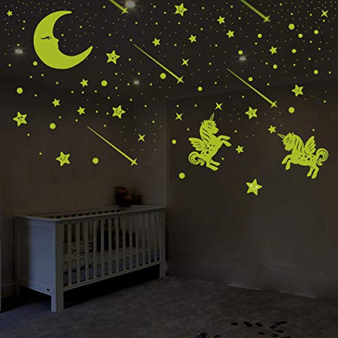 Glow in The Dark Unicorn & Stars Wall Stickers | Kids Bedroom