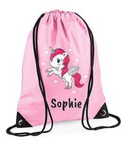 Personalised Name Unicorn Drawstring Bag Pink