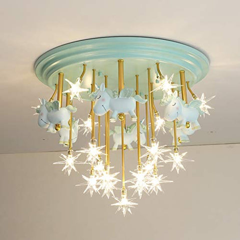 Unicorn Chandelier Kids Bedroom, Iron Chandelier, Boy, Girl Bedroom Star Decoration Ceiling Pendant