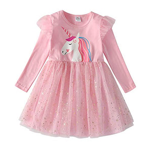 Pink Unicorn Tutu Dress Top Glitter