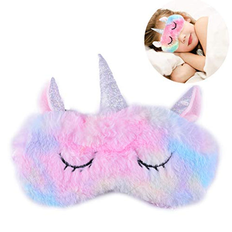 Soft Fluffy Pastel Unicorn Sleeping Eye Mask