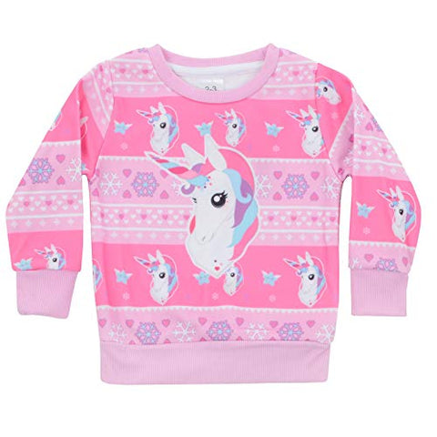 Unicorn Christmas Jumpers | Girls | Pink