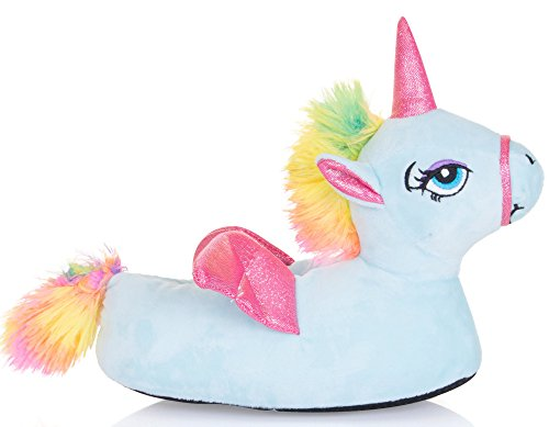 Cute Ladies, Womens, Girls Novelty Unicorn Slippers with Horn, Mane, Tail and Wings, Blue, Size 7/8