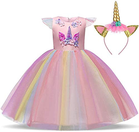 Girls Rainbow Unicorn Fancy Princess Dress | Party Dress | Pink