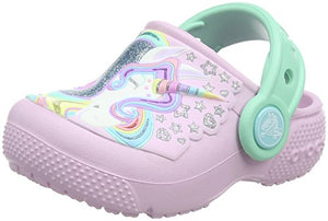 Unicorn Crocs Kids' Fun Lab Clog, Lilac, mint green