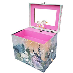 Majestic Unicorn Music Jewellery Storage Box, Unicorn Castle, Flowers, and Forest, Swan Lake Melody