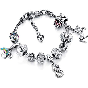 Unicorn Charm Bracelet | Birthday Number Bracelet with Gift Card Box