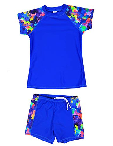 Unicorn blue two piece swim suit