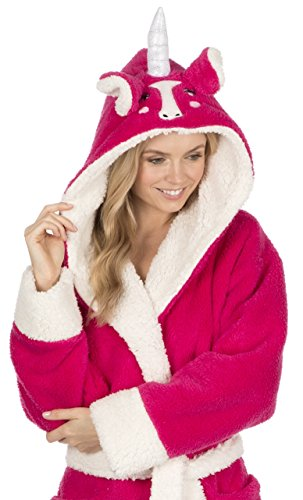 KATE MORGAN Ladies Luxury Soft & Cosy Hooded Dressing Gown (Medium, Unicorn Hot Pink)
