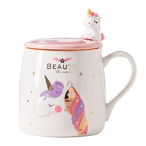 Cute Unicorn Ceramic Coffee Mug With Lovely Unicorn Spoon | Gift Idea
