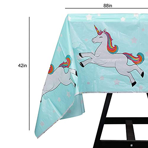 Kompanion 102 Piece Rainbow Unicorn Party Supplies Set Including Banner, Plates, Cups, Napkins, Straws, and Tablecloth, Serves 20