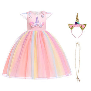 Unicorn Princess Fancy Dress with Necklace, Headband for Kids & Toddlers