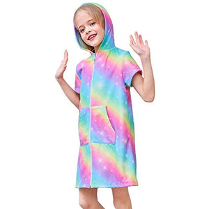Kids Unicorn Swim Cover Up | Cover-ups Beach Dress Towel | Rainbow