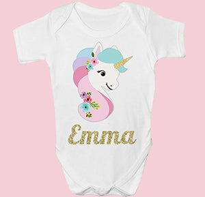 Cute Personalised Unicorn Baby Grow
