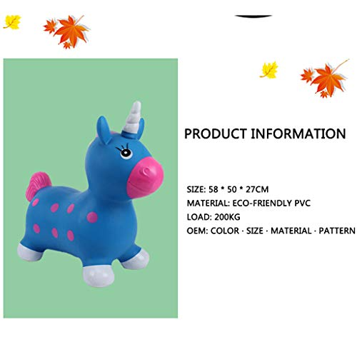 Blue Unicorn Bouncer with Hand Pump, Inflatable Space Hopper, Ride-On Bouncy Animal Bouncy Inflatable Animal Ride-On Children, Boys/Girls/Toddlers