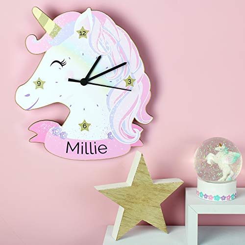 Wall Clock | Personalised With Name | Unicorn Design