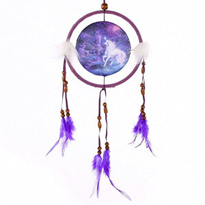 Fantasy Unicorn Dream Catcher Small, Fabric/Feathers/Plastic - Purple