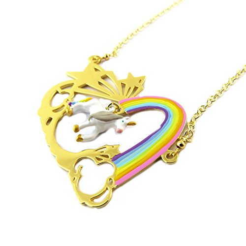 Handmade collier 'Monde Merveilleux'(unicorn)multicolored gilded.