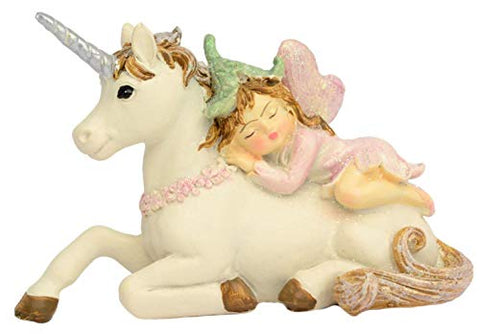 Little Pastel Fairy Resting on Unicorn Figurine Ornament
