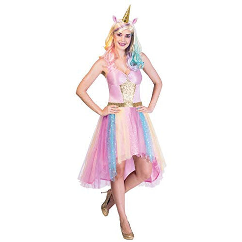 Adults Pretty Unicorn Dress with Unicorn Horn Headband | Various Sizes