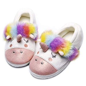 Unicorn Cozy Plush Memory Foam Anti Slip Home Slippers Pink