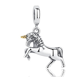 Beautiful Unicorn Dangle Charm | 925 Sterling Silver Charms | Gold Horn