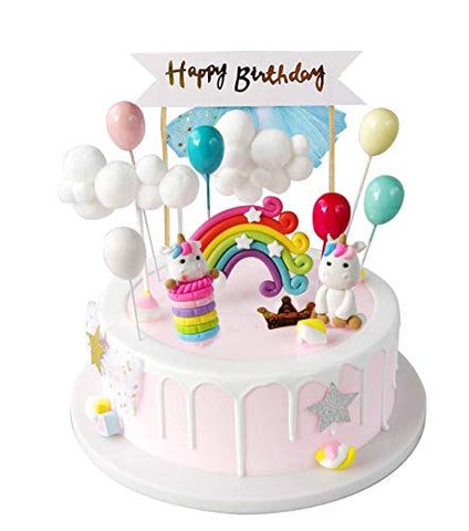 Unicorn And Rainbow Cake Topper Kit | Birthday Cake | Cake Decoration
