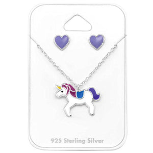 Unicorn Character Enamel Pink and Lilac Necklace and Earring Gift Set