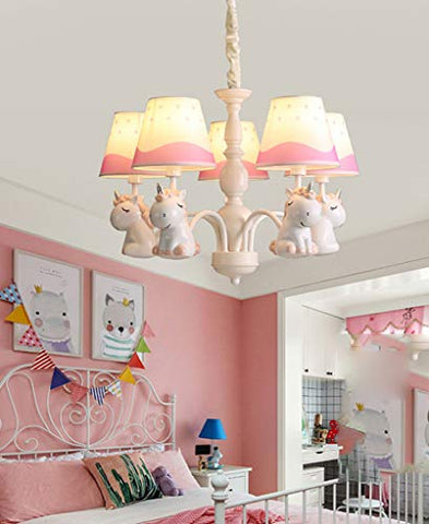 Unicorn Design Ceiling Light Pink, White
