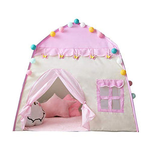 Kids pink play house with pom poms, door and window