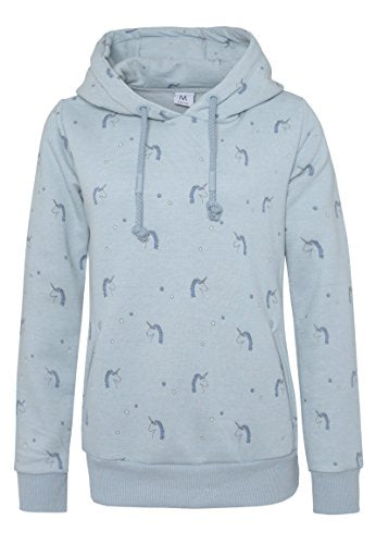 Sublevel Women's All-Over Unicorn Print Hoodie | Hooded Unicorn Sweatshirt, Loungewear Middle-Blue XS
