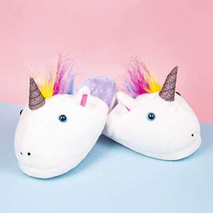 unicorn slippers white and  silver glitteru
