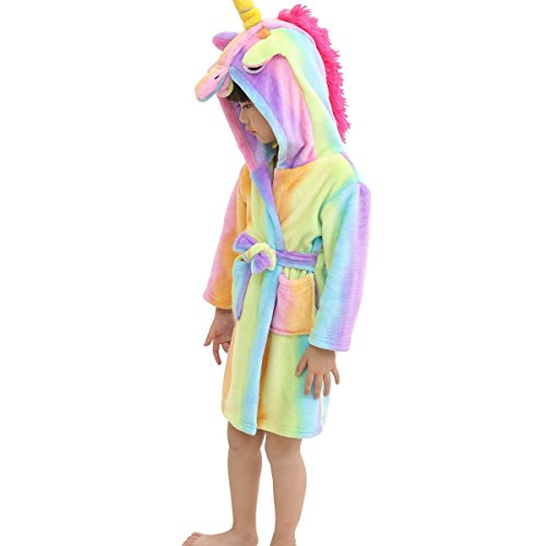 RGTOPONE Kids Soft Bathrobe Unicorn Fleece Hooded Sleepwear Robe Luxurious Dressing Gown Warm Comfortable Nightwear Cute Loungewear Housecoat