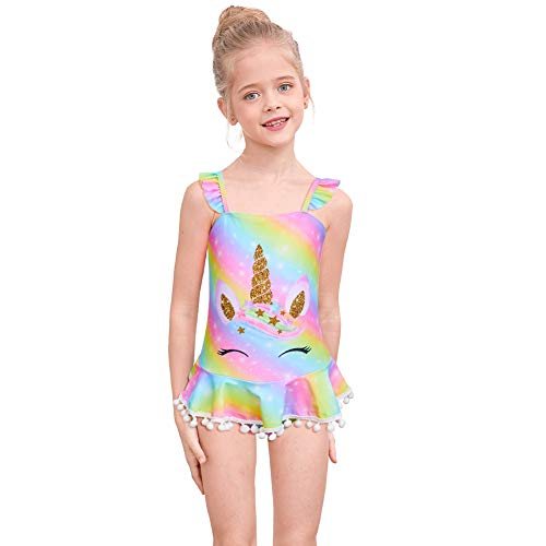 Pastel rainbow unicorn swimming costume children