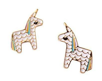 GOLD RAINBOW UNICORN EARRINGS SMILING PONY STUD EARRINGS GIRLS WOMENS GIFT XMAS