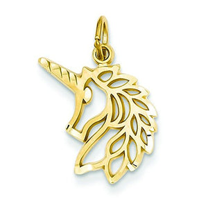 14ct Yellow Gold Unicorns Head Pendant For Necklace