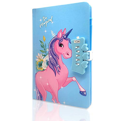 Girls Secret Diary Sequin Unicorn Diary - Blue