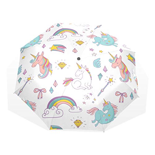ISAOA Unicorn, Rainbow, Stars Umbrella | UV Protection | Compact