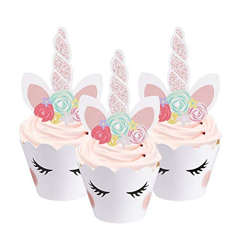 White Unicorn Eyelash Cupcake Cases And Toppers (24 pack)