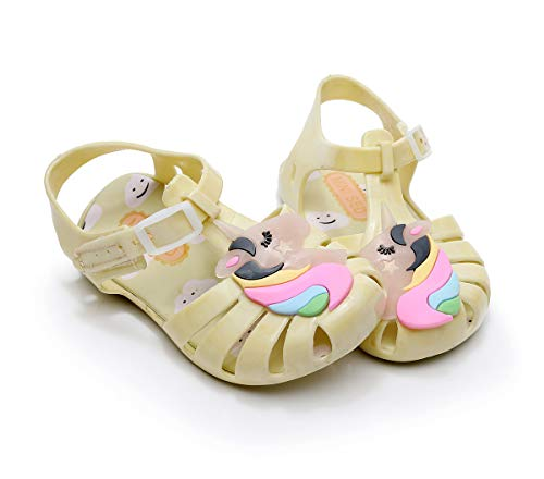 Unicorn Jelly Shoes Girls Yellow Rainbow Unicorn Children