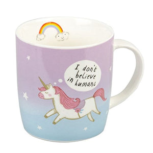 "Unicorn Mug ""I don't Belive In Humans"" 'Gift' Boxed"