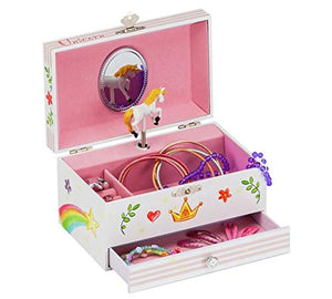 Stunning Unicorn Musical Jewellery Box Perfect Present for Girls- White, Pink