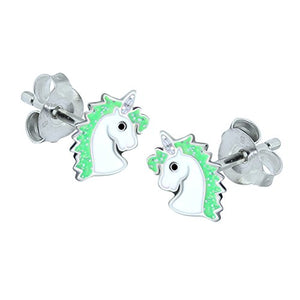 Bright Green Glitter Unicorn Earrings - Sterling Silver