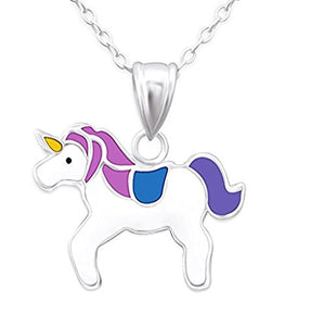 Silver Unicorn Necklace Purple