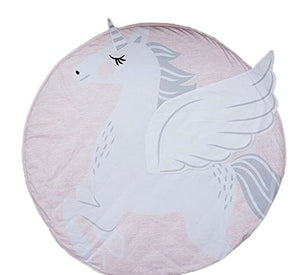 Baby play mat white unicorn subtle pastel shades