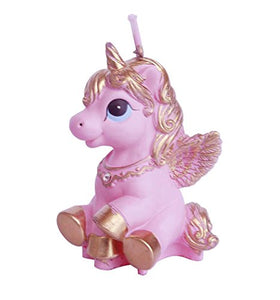 Unicorn Plush Party Candle - Pink