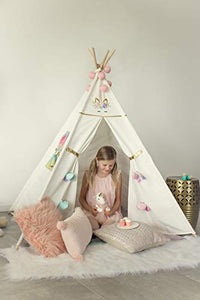 Unicorn embroidered teepee tent for kids white